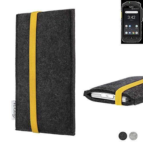 flat.design Handy Hülle Coimbra für Ruggear RG725 passgenau Handytasche Filz Tasche fair schwarz gelb