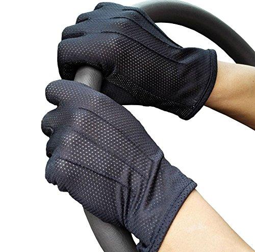 紫外線対策 手元の日焼け対策に 夏でも蒸れない メッシュ手袋 タッチパネル対応 UV手袋 (ブラック)