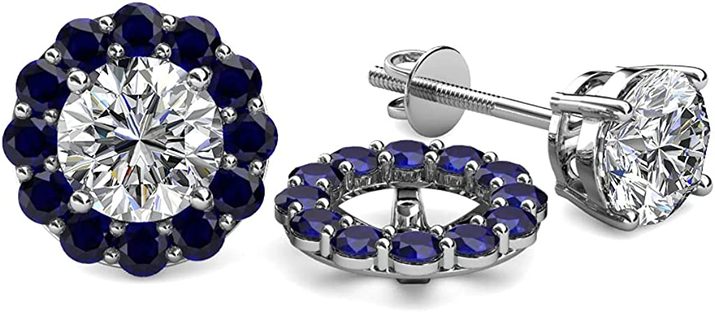 TriJewels Blue Sapphire Halo Jacket for Stud Earrings 0.76 ct tw in 14K White Gold