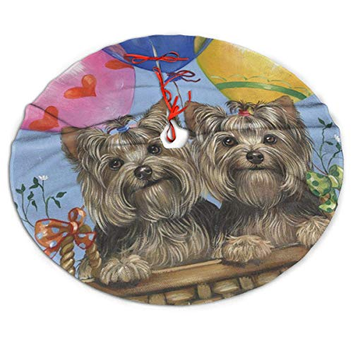 AEMAPE Yorkshire Terrier Dog Art Balloon Themed Round Christmas Xmas Tree Skirt Carpet Mat Rugs Pad Party Favors Supplies Home Ornament Decoration 36'