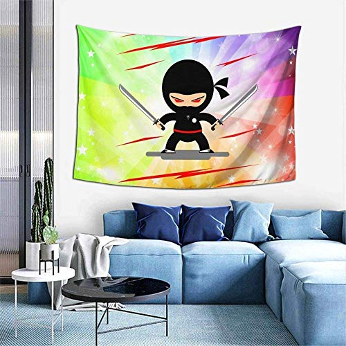 Tapiz Ninja en entrenamiento tapiz tapiz para colgar en la pared para habitación de 60 x 40 pulgadas