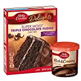 Betty Crocker Triple Chocolate Fudge Cake Mix and Chocolate Frosting Bundle (2 Items)