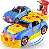 Liberty Imports Kids Take Apart Toys - Build Your Own Racing Vehicle Toy Construction Playset - Realistic Sounds and Lights with Tools and Power Drill (Race Car)