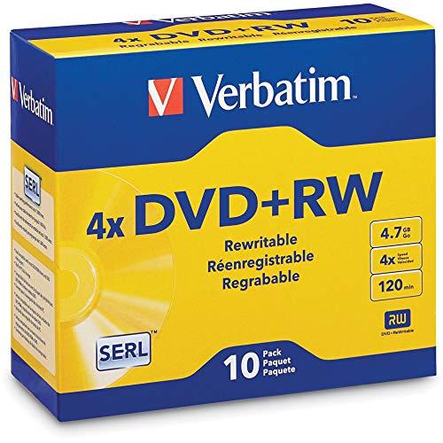 Verbatim DVD+RW 4.7GB 4X with Branded Surface - 10pk Jewel Case - 94839