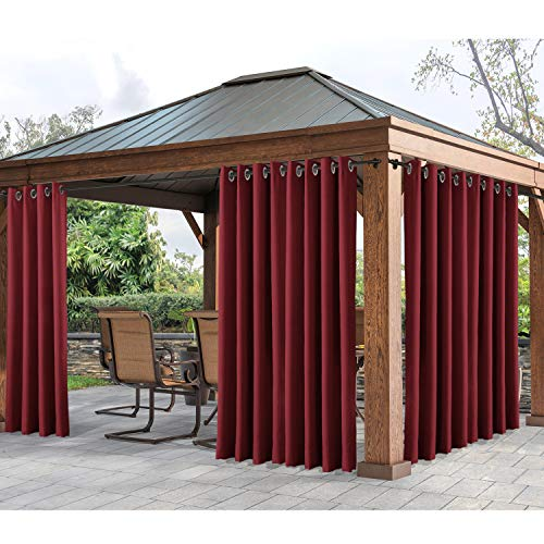 """cololeaf Outdoor Curtain Panel for Patio Waterproof Grommet Top Thermal Insulated Blackout Outdoor Curtain Drape for Patio, Porch, Gazebo, Pergola, Cabana - Red 52"""" Wx84 L Inch (1 Panel)"""