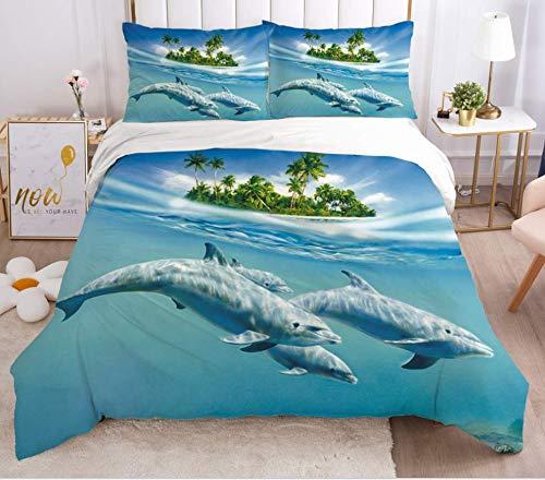 JZZCIDGa Coconut Tree Dolphin DuvetCoverSet3PiecesBeddingQuiltCoverBeddingUltraSoftDouble