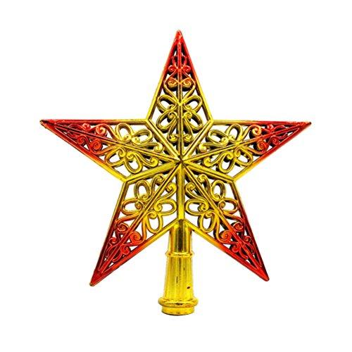 OULII Weihnachtsbaumspitze Stern Baumschmuck Glitzernde (Goldene Rot)