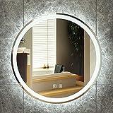 Espejo de baño LED Espejo de Maquillaje Redondo de Pared con Control Táctil Espejo Plateado a Prueba de Explosiones de Alta Definición con Brillo Ajustable, Utilizado en la Sala de Estar/Pasillo