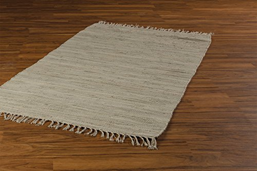 Flickenteppich Wohnzimmerteppich Handwebteppich | 80x150 cm | Sandfarben | Baumwolle