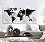 Original by BoxColors LARGE 30'x 60' 3 Panels 30'x20' Ea Art Canvas Print Watercolor Map World countries cities Push Pin Travel Wall color Black White Gray decor Home interior (framed 1.5' depth)