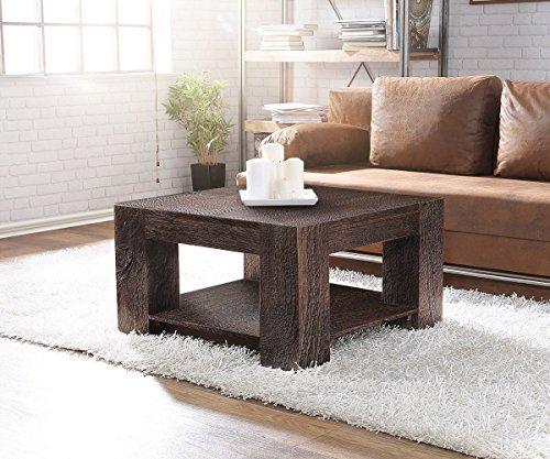 DELIFE Wohnzimmertisch Blokk Akazie Tabak 80x80 Massivholz mit Ablage Couchtisch
