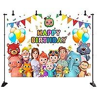 ココメロン家族の子供たちの漫画の誕生日の写真の背景 結婚式のスタジオ写真の背景パーティー用品写真の誕生日の背景 写真撮影用背景布