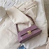 LIJ Sommertaschen Leder Lila Krokodil Baguette Form Taschen für Frauen Schultertaschen, violett,...