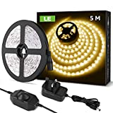 LE 5M LED Strip Lights, Warm White 3000K, Dimmable LED Tape for Bedroom, Under Cabinet, Mirror and More, Dimmer Switch and 12V Power Plug Included