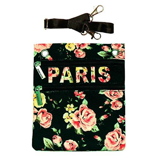 Pochette Passeport 'Paris Fleuri' Robin Ruth - Noir