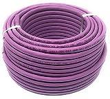 Cable Ethernet de 50 m (metros) Cat 7A, libre de halógenos, 1200 MHz/cobre / cable de red súper rápido (PoE)/PoE + (50 m morado)