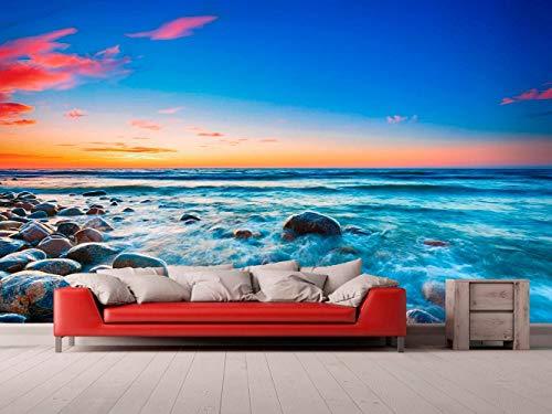 Oedim Fotomural Vinilo Adhesivo Playa Rocosa Puesta de Sol, Vinilo Adhesivo Decorativo para Habitaciones, decoración para Paredes, Vinilo Adhesivo