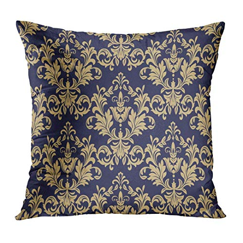 Throw Pillow Cover Royal Floral Pattern Baroque Damask Gold and Black Blue Antique Curtains Dark Drapery Flourishes Home Decor Square Cushion Pillowcase (Two Sides) 24x24 Inch