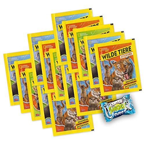 National Geographic Kids - Wilde Tiere - 15 Booster 75 Sticker + Center Shock