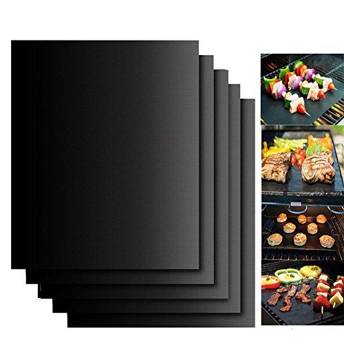 Lot de 5 tapis de cuissonArtstore anti-adhésifs et réutilisables pour barbecue, grill au gaz, au charbon de bois, barbecue électrique avec pinceau en silicone Noir