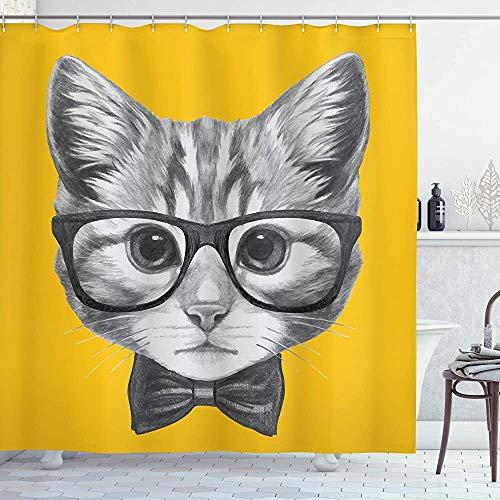 Animal douchegordijn Sketchy hand getekend ontwerp baby Hipster kat Kitten met bril afbeelding Print doek stof badkamer Decor Set met haken grijs mosterd 66 * 72in