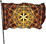 N/A USA Wächter Fahne Banner Garten Flaggen Blume des Lebens Frühling Vorhof für UV-Schutz Terrasse Wand Dekoration 91,4 x 152,4 m