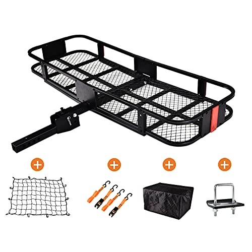 """Basket Trailer Hitch Cargo Carrier 60""""x 21"""" Folding Trailer Hitch Luggage Rack with Cargo Bag and Net, 550 LBS Capacity Vehicle Cargo Carriers Hitch mount Fit 2"""" Receiver for SUV, Truck, Car"""