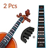 VCOSTORE Violin Finger Guide and Rubber Mute Pack, 4/4 Violin Notes Sticker Full