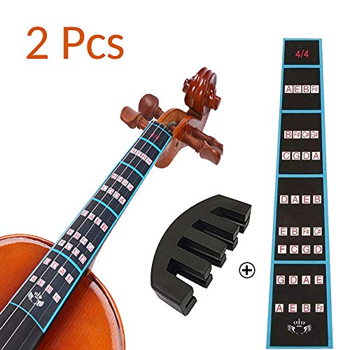 VCOSTORE Violin Finger Guide and Rubber Mute Pack, 4/4 Violin Notes Sticker Full Size Guide, Violin Label Chart Plus Rubber Mute for Beginners