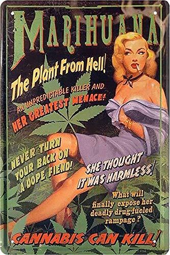 """Cartel de chapa Pin Up Pinup """"Marihuana The Plant from Hell!"""" Hot Sexy Girl Deko Metal Cartel Retro Vintage Cartel Regalo de cumpleaños o Navidad 20 x 30 cm"""