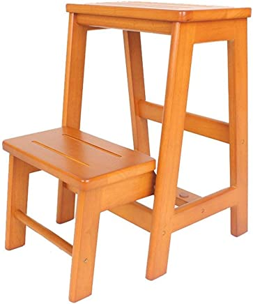ZHJBD Furniture Stool Wooden Adult Solid Wood Ladder Stool Home Two-step Folding Ladder Kitchen Stool Three Layers Stairs Stool