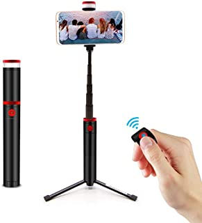 Portable Selfie Stick, Extendable Selfie Stick Tripod with Detachable Bluetooth Wireless Remote and Tripod Stand Selfie Stick