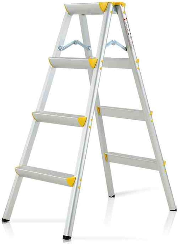 JTWJ Step Ladder Aluminum Alloy Adult, 4-step Heavy Ladder, Wide Step, 150 Kg