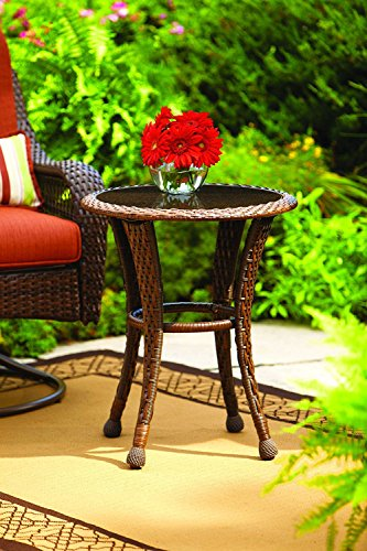 New! Better Homes and Gardens Azalea Ridge 20' Wicker Round Outdoor Side Table 24'h X 19.75'd Steel Frame Glass Top