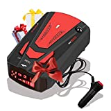 [2021 New Version] Radar-Detector-for-Cars,Laser Radar Detector Voice Prompt Speed,Vehicle Speed Alarm System,LED Display,City/Highway Mode,Auto 360 Degree Detection for Cars (Red)