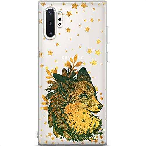 Mertak Clear Phone Case Compatible with Samsung Galaxy Note 20 Ultra S21 5G S20 S10+ Christmas Silicone Lightweight Design Flexible Boho Gold Stars Protective TPU Slim Fox Animal Cover Fern