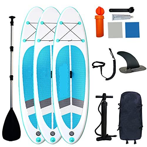 Stand Up Paddle Board Inflable, Tabla para Sup Inflable con Remo Ajustable, 385ib Capacidad Carga, Alfombrilla Antideslizante-305 * 76 * 12cm