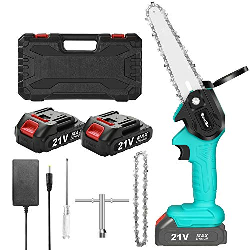 Mini Cordless Chainsaw, SEESII 6-Inch Electric Portable Chainsaw, Battery Operated One Hand Chainsaw for Garden Bush Tree Branch Pruning Shears Wood Cutting (2Pcs Batteries & 2Pcs Chain & Case)