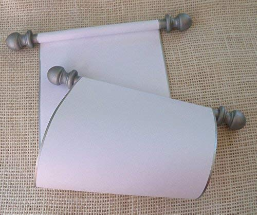"""Blank Scroll for wedding vows, handwritten letter, wedding proposal, or secret message, white paper with silver finials and presentation box, 5"""" wide paper"""