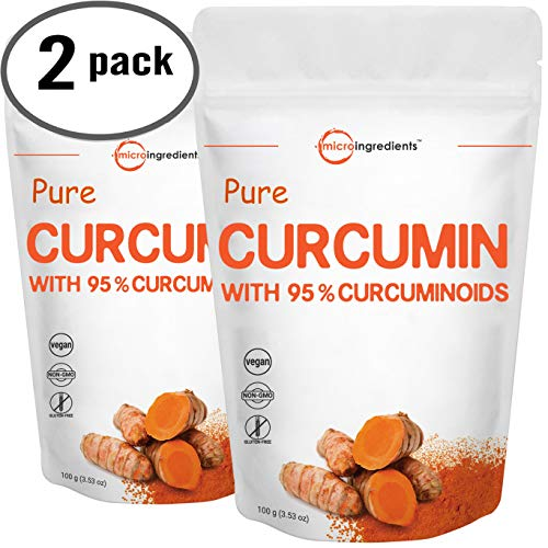 Maximum Strength Pure Curcumin Powder, (Natural Turmeric Extract and Turmeric Supplements), Rich in Antioxidants for Joint Support, 100 Gram for 2 Pack, Non-GMO and Vegan Friendly