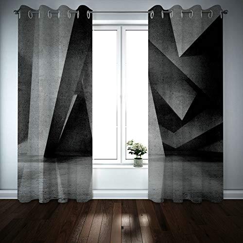 Kihomedy Cortinas de ventana para sala de estar, diseño geométrico 3D, color negro y gris, tratamiento de ventana para sala de estar, guardería, habitación de niños, 2014 x 100 cm, 2 paneles