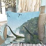 APJDFNKL Kids Pillowcases Mamenchisaurus Dinosaur Foggy Day 3 D Illustration Sequin Zippered Pillowcase 18 X 18 Inch Reversible Sparkly Mens Pillowcase Home Decor