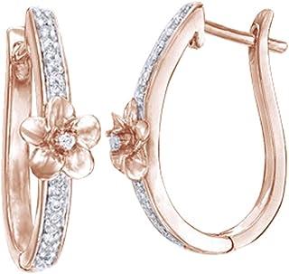 Orecchini a cerchio per donne e ragazze in argento Sterling 925 (oro 18 carati su argento sterling) (0,2 carati)