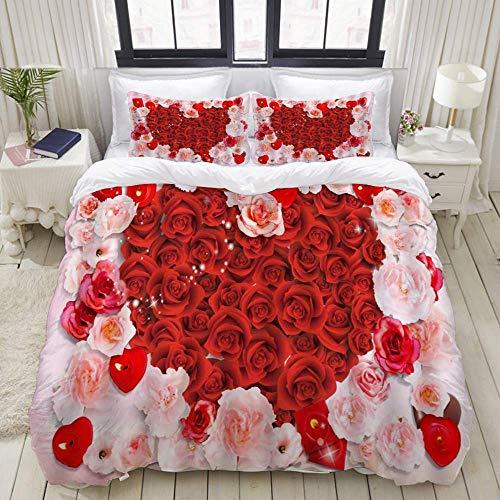 Set copripiumino di facile manutenzione e 2 fodere per cuscini, fiore rosa floreale, rosa rossa, natura, pittura primaverile, paesaggi selvaggi esotici, San Valentino, copripiumino in microfibra di al