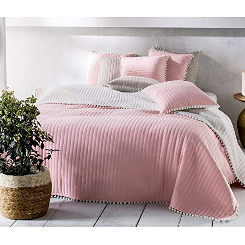 JEMIDI Tagesdecke Bett & Sofaüberwurf Bommel 220cm x 240cmvon Bettüberwurf Sofa Tages Decken Betthusse XXL Decke Altrose
