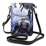 Monster Hunter World - Bolso bandolera de piel para teléfono celular, bolsa de viaje con Cred.