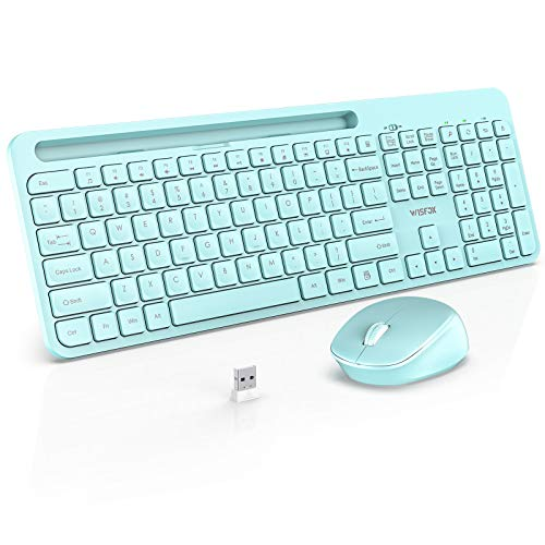 Wireless Keyboard and Mouse Combo, WisFox 2.4G Ergonomic USB Keyboard with Phone Holder, Full-Size Keyboard and Mouse Set for Computer, Laptop and Desktop(Mint Green)