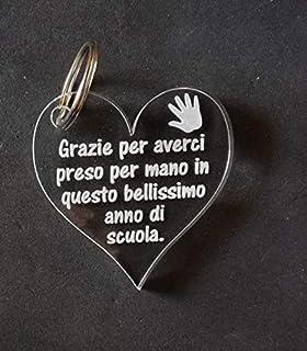 PORTACHIAVE cuore in plexiglass Idea REGALO maestro PORTACHIAVE Originale e personalizzabile con frase maestra