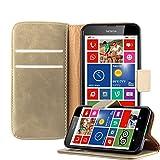 Cadorabo Hülle für Nokia Lumia 630 in Cappuccino BRAUN – Handyhülle mit Magnetverschluss, Standfunktion & Kartenfach – Hülle Cover Schutzhülle Etui Tasche Book Klapp Style