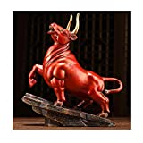Living Equipment Escultura Figuras Adornos de toro de bronce Estatuas de toro Adornos de Feng Shui que simbolizan la riqueza y la buena suerte Adecuado para la sala de estar Oficina Decoración de g
